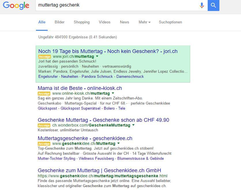 Google Anzeige mit Countdown