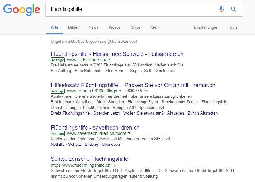 Screenshot Googlesuche Flüchtlingshilfe