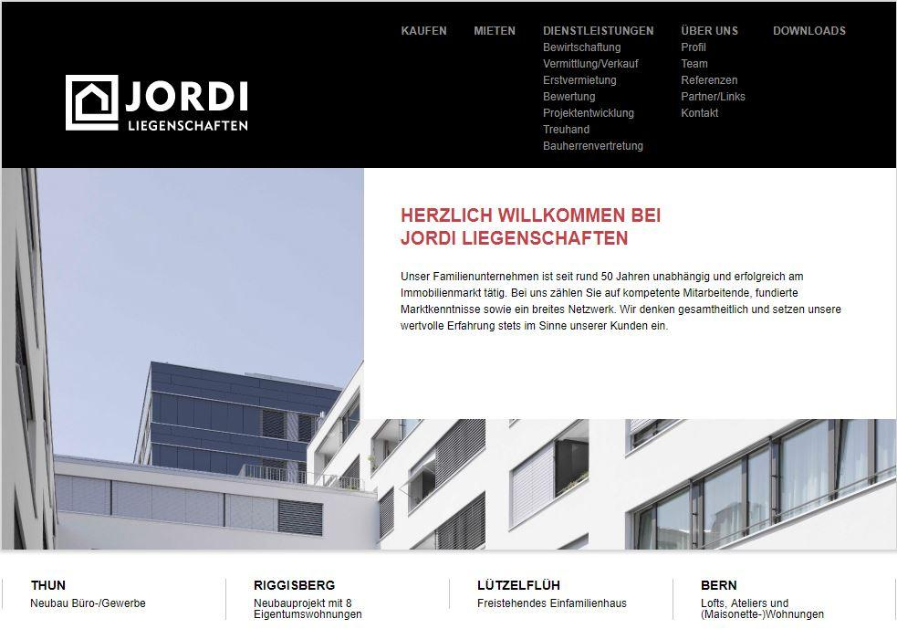 Website Jordi Liegenschaften