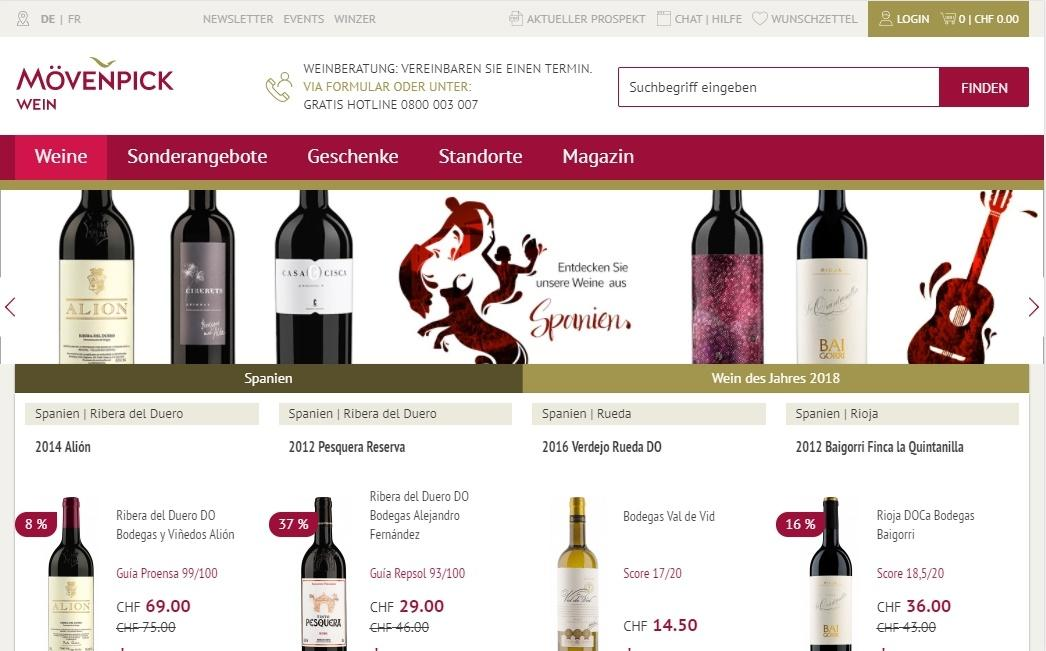 Website Mövenpick-Wein