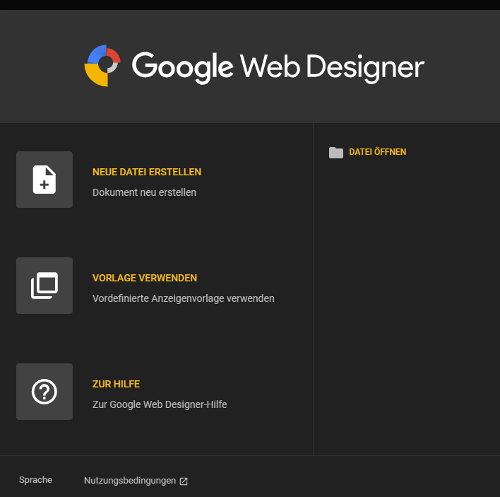 Screenshot Google Web Designer