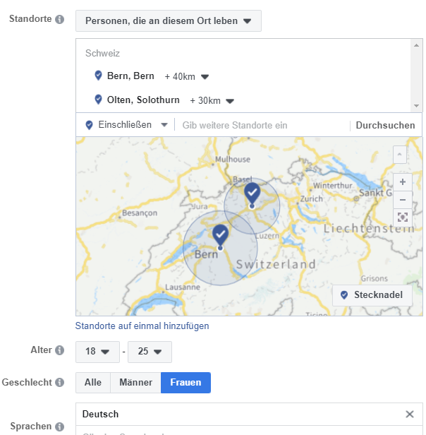 Facebook Ads Zielgruppe