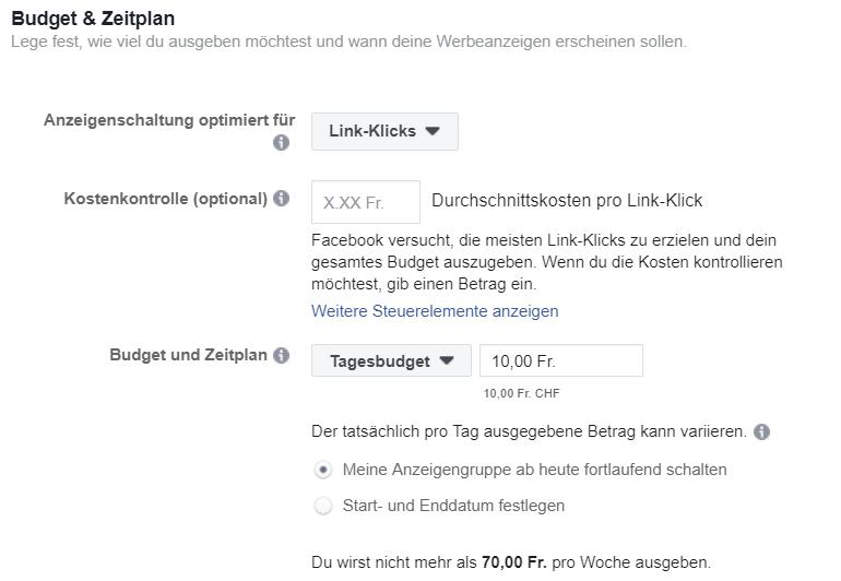 Facebook Ads Budget und Zeitplan