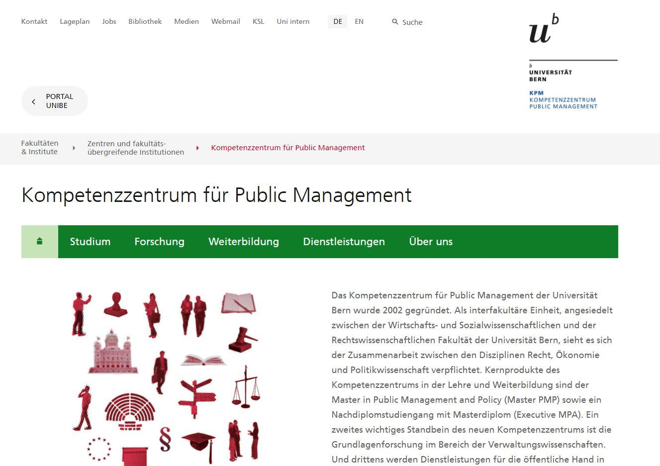 Website Universität Bern KPM