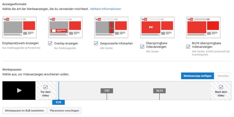 YouTube Werbung Anzeigeformate
