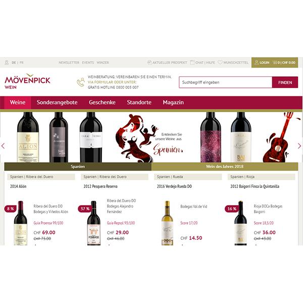 Website Mövenpick-Wein