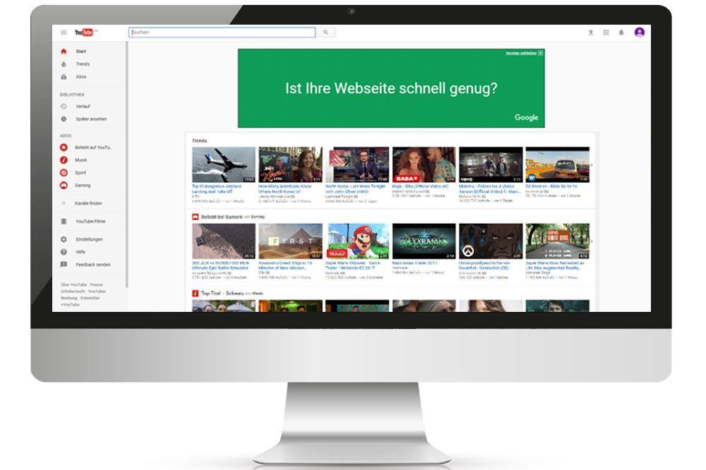 Desctopbildschirm mit Youtube Masthead Schweiz Werbebanner von Google