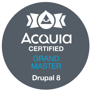 Zertifizierungs-Badge Drupal 8 Grand Master