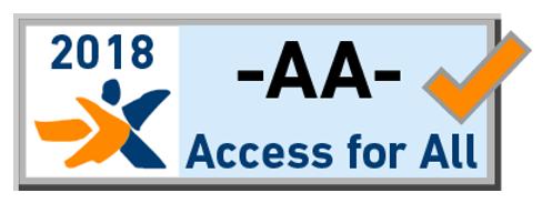 hellblaues Zertifikat für barrierefreie Websites mit AA-Konformitätsstufe der Stiftung Access for All