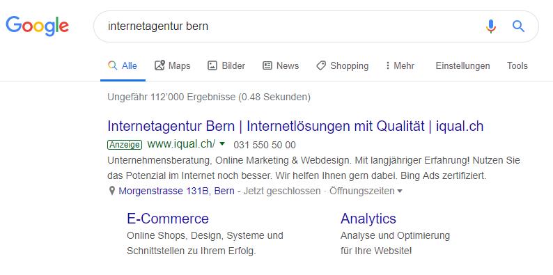 Google Ads Beispiel iqual Anzeige