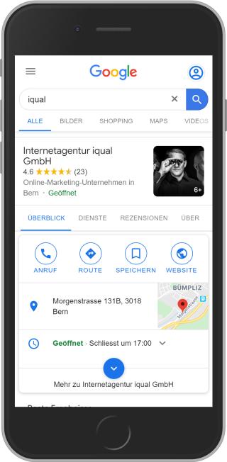 Google My Business Eintrag von iqual auf Mobile