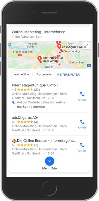 Lokale Suche bei Google - Adressbox mit drei sichtbaren Adressen auf Mobile