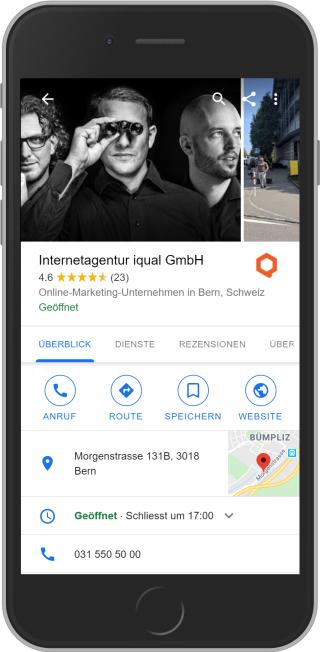 Google Maps Eintrag der Internetagentur iqual auf Mobile GmbH auf Mobile