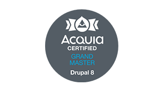 Logo ACQUIA Certified Grand Master Drupal 8